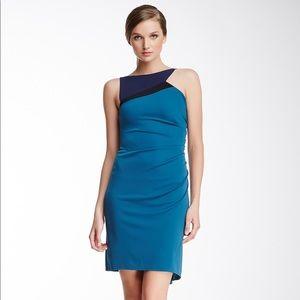 NWT BCBG Adair Colorblock Asymmetrical Dress